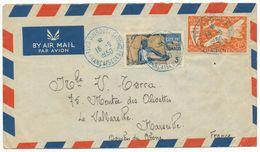 COTES FRANCAISES DES SOMALIS ENV 1950 DJIBOUTI LETTRE AVION - Côte Française Des Somalis (1894-1967)