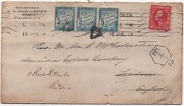 Lettre USA > GB Tarif Réduit Spécial 2 Cents Réexpédiée > France Tarif UPU Taxe Simple PARIS 1913 Cf. Description - Segnatasse