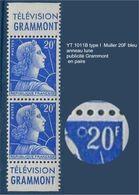 """FR Variété YT 1011B Type I Paire """" Muller 20F Bleu """" Neuf** Anneau Lune + Publicité - Variétés Et Curiosités"""
