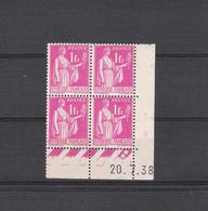 1938  - BLOC DE 4 TIMBRES NEUFS  N° 369 - TYPE PAIX    COIN DATE DU 20 / 7 / 38         -        COTE 10 EUROS - 2010-....