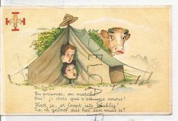 """2 Scouts Sous La Tente Et Vache Dans La Prairie:"""" Tu Entends, On Marche!"""" - Padvinderij"""