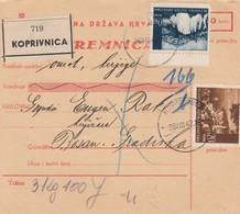 Croatia WWII NDH Parcel Card Koprivnica / Bosanska Gradiska, Postage Due On Receiving Office - Croazia