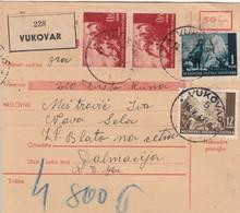 Croatia WWII NDH Parcel Card Vukovar - Zadvarje, Rare Postmark - Croazia