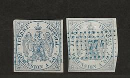 FISCAUX   DIMENSIONS N°1A ET 1Aa  50 C Bleu Et Bleu Clair (oblitére) - Revenue Stamps