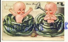 Bonne Année. Deux Bébés Dans Les Choux, Escargot.  Signée Joë. - Autres Illustrateurs