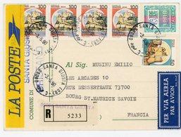 ITALIE CP RECOMMANDEE 1990 SANTA GIUSTA TARIF CP AVION RECOMMANDEE REFERENDUM RESIDANT EN FRANCE - 1946-.. République