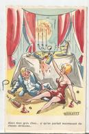 """Couple Ivre Assis Par Terre. Champagne:"""" Alors Mon Gros Chou...""""Signée R. Marquot - Humour"""