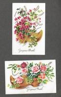 Joyeux Noël Sabot Fleurs - 2 Jolies Mignonnette Format 7x10,5 Cm Env - Cartes Non écrite Photochrom N°177 - Kerstman