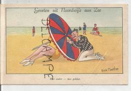 A La Plage. Madame Sous Le Parasol. Monsieur Regarde Par Un Trou. Signée Dick Meester. - Humour
