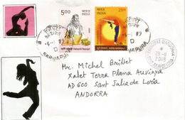 Yoga Exercise By Patanjali INDIA,  On Letter Sent To Andorra, With Arrival Postmark - Autres