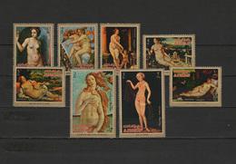 Ajman 1971 Paintings Raphael, Titian, Botticelli Etc. Set Of 8 MNH - Arte