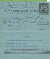Entier Carte Pneumatique Type CHAPLAIN CLPP-2553  50c Noir PARIS 18/10/99 - Entiers Postaux