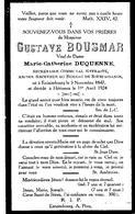 Souvenir Mortuaire BOUSMAR Gustave (1847-1924) Né à ESTAIMBOURG Mort à HERINNES – Ancien Secrétaire Communal - Images Religieuses