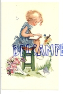 Petite Fille Sur Un Tabouret Qui écrit. Tournesol, Oiseau. Coloprint 4484 - Autres Illustrateurs