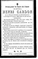 Souvenir Mortuaire CARDON Henri (1848-1903) Né à PECQ Mort à SAINT-LEGER (Ht) - Images Religieuses