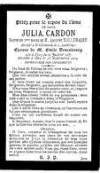 Souvenir Mortuaire CARDON Julia (1857-1904) 1. Vve HOMMEMAERT, A. 2. Ep. DENEUBOURG, E. Née à PECQ Morte à ERE - Images Religieuses
