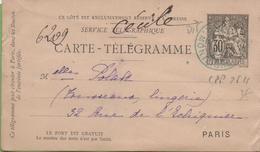 Entier Carte Télégramme Type CHAPLAIN CPP-2511  30c Noir PARIS MONTAIGNE Cachet Bleu Mars 1902 - Pneumatic Post
