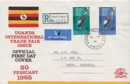 Postal History Cover: Uganda Used FDC - Gru & Uccelli Trampolieri