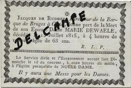DP. OVERLIJDENSBERICHT BRUGGE - MARIE DE WAELE + 13/7/1815 -63 ANS - Godsdienst & Esoterisme