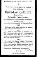 Souvenir Mortuaire CARETTE Honoré (1886-1934) Né à TEMPLEUVE Morte à PECQ - Images Religieuses