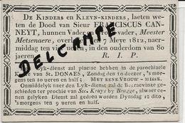 DP. OVERLIJDENSBERICHT BRUGGE - FRANCISCUS CANNEYT + 7 MEYE 1812 -80 JAAR - Godsdienst & Esoterisme