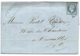 N°14 BLEU NAPOLEON SUR LETTRE / LE HAVRE POUR VERSAILLES / 24 MARS 1855 - 1849-1876: Classic Period