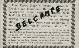 DP. OVERLIJDENSBERICHT BRUGGE -  JOORIS DE BREE + 27 MAERTE 1807 - 87 JAAR - Godsdienst & Esoterisme