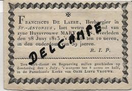 DP. OVERLIJDENSBERICHT BRUGGE -  MARY BUYS + 28 JUNY 1813 - 39 JAAR - Godsdienst & Esoterisme