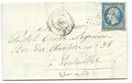 N°14 BLEU NAPOLEON SUR LETTRE / CHARTRES POUR VERSAILLES / 27 MARS 1855 - 1849-1876: Classic Period