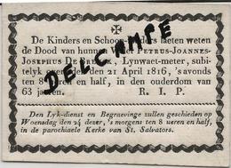 DP. OVERLIJDENSBERICHT BRUGGE -  PETRUS JOANNES JOSEPHUS DE BREUK + 21 APRIL 1816 -63 JAAR - Godsdienst & Esoterisme