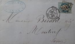 DF40266/870 - ✉️ (LAC) - CERES N°37 - LYON LES TERREAUX 31 JUILLET 1871 à MOUTIERS (Savoie) - 1870 Siège De Paris