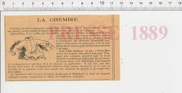 Presse 1889 Publicité Chemiserie Des Ciseaux D'Argent Boulevard De Sébastopol Paris Chemises 222L - Vieux Papiers