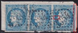 N°60A Bande De 3 104G1 105G1 106G1 3ème état (rare), Variété Suarnet 101b, Ensemble Rare. Un Défaut En Bas Sur Le 105G1 - 1871-1875 Cérès