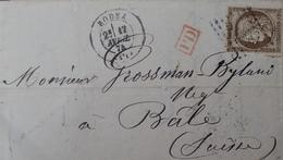 DF40266/871 - ✉️ (LAC) - CERES N°56 - RODEZ (Aveyron) 17 AVRIL 1874 à BÂLE (SUISSE) - 1871-1875 Cérès