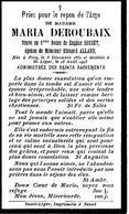 Souvenir Mortuaire DEROUBAIX Maria (1851-1925) 1. Vve BOSSUT, E. 2. Ép. ALLARD, E. Née à PECQ Morte à SAINT-LEGER (Ht) - Images Religieuses