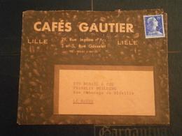 FRANCE MARIANNE MULLER LETTRE ENVELOPPE COVER LETTER ILLUSTRE ILLUSTRATION GRAIN CAFE CAFES GAUTIER LILLE NORD - Poststempel (Briefe)