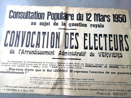 Consultation Populaire Sur La QUESTION ROYALE 1950 / OUI Ou NON Au ROI LEOPOLD III - Affiches
