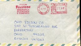49671 Brasil, Red Meter Freistempel Ema, 1975 Sao Paulo,  Tyres  Firestone Pneus - Frankeervignetten (Frama)