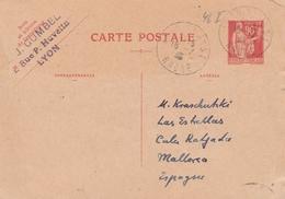 France Entier Postal 90c Rouge Type Paix Pour L'Espagne 1935 - Biglietto Postale