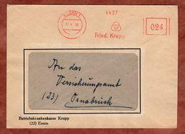 Brief, Absenderfreistempel Aptierter Wertrahmen, Fried Krupp, 24 Pfg, Essen 1946 (82901) - American/British Zone