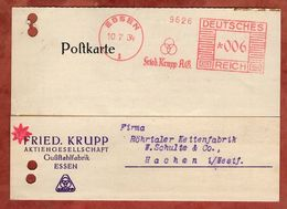 Karte, Absenderfreistempel, Fried Krupp, 6 Pfg, Essen 1934 (82902) - Covers & Documents