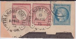 N°60A Avec 2 Timbres Du Deutsche Reichs En Affranchissement Mixte, Superbe Cachet Strassburg, TB - 1871-1875 Cérès