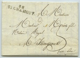 Marque Linéaire 88 ST-CHAMOND + 3 Décimes / LàC 1817 Pour Issingeaux . Affaire De Succession . - 1801-1848: Precursors XIX