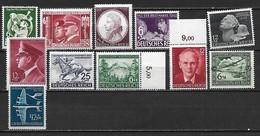 ALLEMAGNE 1941-1944 - Deutshes Reich  - Lot De 11 Bons Timbres Neufs **  MNH  Cote YT : 62 Euros - Allemagne