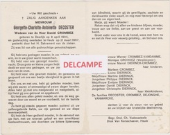 DOODSPRENTJE DECOSTER GEORGETTE WEDUWE CROMBEZ DEERLIJK HEULE 1904 - 1967  BEWERKT TEGEN KOPIEREN - Images Religieuses