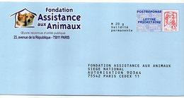 Entier Postal PAP POSTREPONSE PARIS FONDATION ASSISTANCE AUX ANIMAUX - Postal Stamped Stationery