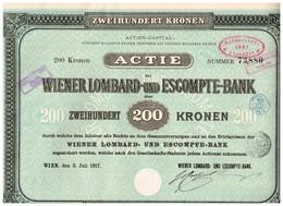 Titre Ancien - Wiener Lombard Und Escompte-Bank  - Titre De 1917 - Bank En Verzekering