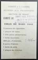 Fiche D'envoi De COLIS Secours Aux Prisonnier De Guerre Section De BAVAY Comité De TAISNIERES Mars 1943 - Guerre De 1939-45
