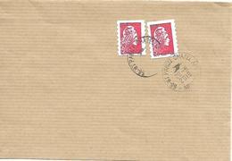 Cachets Manuels Saint Parizé Châtel Nièvre Marianne L'engagée Lettre Prio (2) - Postmark Collection (Covers)