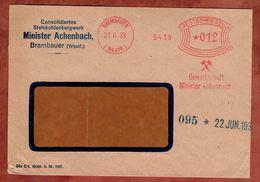 Brief, Absenderfreistempel, Gewerkschaft Minister Achenbach, 12 Pfg, Brambauer 1933 (82912) - Deutschland